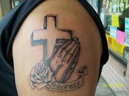 Cross With Brother Tattoo On Shoulder