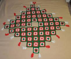 Image Is Loading Vtg CHRISTMAS Granny Square TREE SKIRT Afghan HANDMADE