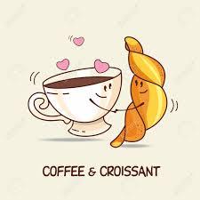 kaffee und croissant liebe für immer comic vektor illustration