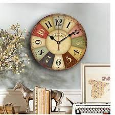 Item 4 Antique Clock Wall Rustic Vintage Style Wooden Round Clocks Large Art Home Deco