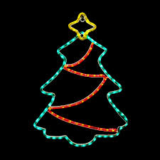 24 Inch Green Red And Yellow Led Rope Light Christmas Tree Motif With Twinkling Garland