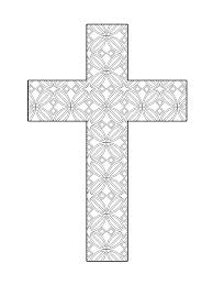 Printable Cross Coloring Page Flower Pattern