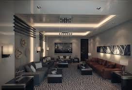 Adorable Ceiling Decoration With Brown Leather Couch For Modern Apartment Living Room Design Ideas