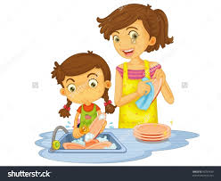 Mother Washing Dishes Clipart