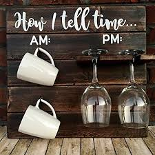 Kitchen Decorating Themes How To Tell Time Hanging Coffee Wine Rack Rustic