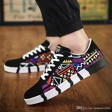 New Fashion Flats Canvas Shoes Men Boys Black White Casual Multicolor Women Leisure Awesome Pattern Design Wholesale Price Cool Naot