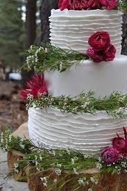 Rustic Wax Flower And Roses Wedding Cake
