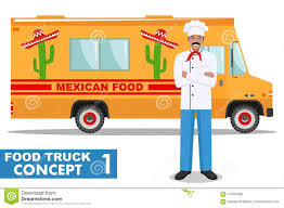 Flat Design Vector Illustration Of Food Truck And Cook, Head Chef In ...