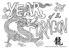 Year Of The Dragon Colouring Page