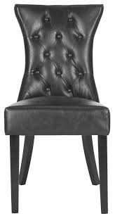 100 Black Leather Side Dining Chairs MCR4719ASET2 Furniture By Safavieh