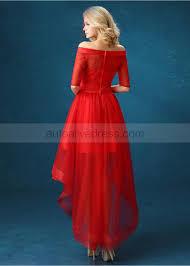 polka dot tulle off shoulder elbow sleeves hi low evening dress