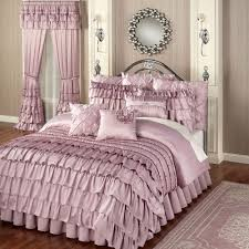 Dark Purple Ruffle Curtains by Bedroom Purple Pintuck Comforter With Purple Throw Pillows For