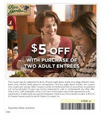 Olive Garden $5 off 2 Adult Entrees Coupon