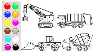 100 Construction Truck Coloring Pages Learn Colors With Bulldozer And Crane Fun