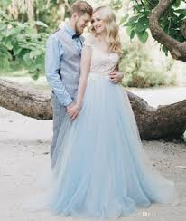 Discount White Lace Blue Tulle Wedding Dress Off The Shoulder Sweetheart Neckline Sheer Elegant Bridal Gown V Backless Country Style Rustic Dresses A Line