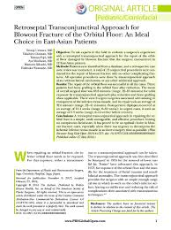 Fracture Orbital Floor Treatment by Injuries U2013 Surgical Techniques U2013 Orbital Floor Fractures