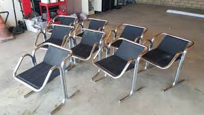 Set Of 8-Jerry Johnson Arcadia Lounge Chairs- Chrome/ Canvas/ Leather- Mid  Century Modern Set Of 8-