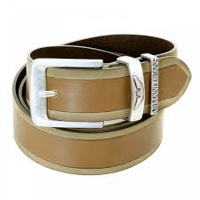 light brown leather belt with side trim by armani jeans niro
