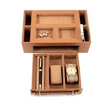 Mens Dresser Top Valet by Mens Gifts Tan Leather Valet Box With Watch U0026 Eyeglass Drawer Ebay