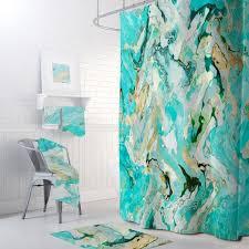 boho blau marmor duschvorhang petrol türkis badezimmer dekor schöne marmorierung kunst