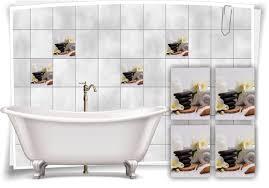 fliesenaufkleber fliesenbild zen steine blüte wellness spa auszeit aufkleber deko wc bad
