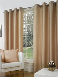Faux Silk Eyelet Curtains by 90x90in 228x228cm Latte Coffee Faux Silk Eyelet Curtains Littens