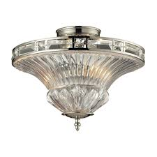 Swarovski Crystal Lamp Finials by Crystal Semi Flushmount Light With Clear Glass In Polished Nickel