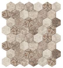recycled hexagon glass tile ancient beige kitchen backsplash