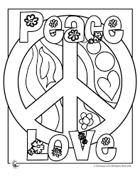 Peace Sign Coloring Pages Flower Power Page Fantasy Jr