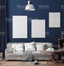 dunkelblau skandinavischen innenausbau mit retromöbeln plakat wand mockup im wohnzimmer stockfoto und mehr bilder aktenmappe