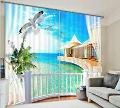 details zu malediven strand balkon 3d blickdicht fotodruck gardinen drapieren gewebe fenste