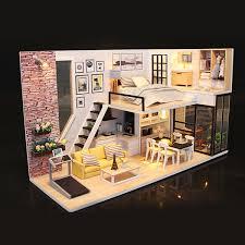 Music LED Dollhouse DIY Cottage Miniature Wooden House Lavender Home