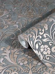 tapete vlies barock metallic grau alt rosa 32604