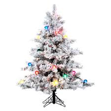3 Ft Fiber Optic Christmas Tree Walmart by 4 5ft Pre Lit Artificial Christmas Tree Flocked Alaskan