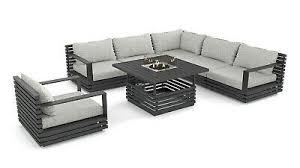 outdoor lounge set gartenmöbel terrasse design rina anthrazit feuertisch ebay