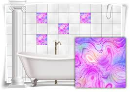 fliesen aufkleber folie marmor öl ölfarben abstrakt lila rosa bunt bad wc deko küche