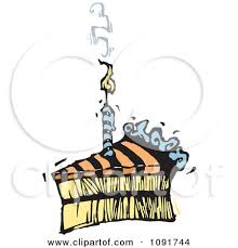 Clipart Striped Birthday Cake Slice With A Smoking Candle Royalty Free Vector Illustration by Steve Klinkel