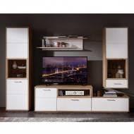 tv anbauwand wohnzimmer set in weiß wildeiche vindrosca