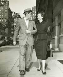 1940s Couple Walking Down Street Date Suit Dress