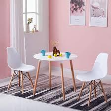 liepu esstisch rund küchentisch skandinavisch mdf klein esszimmertisch mit holzbeine für 2 4 personen hxd 73 x 80 cm weiß