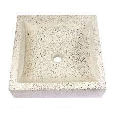 terrazzo waschbecken handwaschbecken steinbecken gäste bad ca 40 x 40 cm stein eckig hellgrau galerie