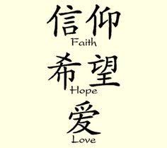 Chinese Symbol For Faith Hope And Love