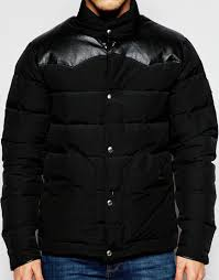 penfield shower proof pelham down fill jacket with leather yoke in