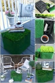 Milk Crate Ideas Cover A Plastic In Faux Grass To Form An Outdoor Table That