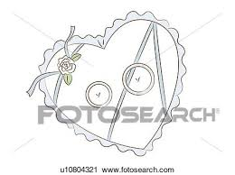 Clipart Two wedding bands on heart shaped pillow high angle view Fotosearch