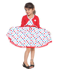 lil orchids red cotton polka dots printed with shrug girls casual