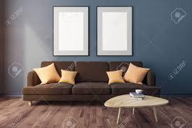 moderne beton wohnzimmer interieur mit möbeln und leeren banner an wand design und stil konzept 3d rendering