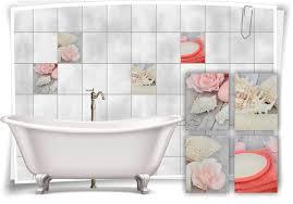 fliesenaufkleber fliesenbild muscheln pastell rosa wellness spa aufkleber deko wc bad