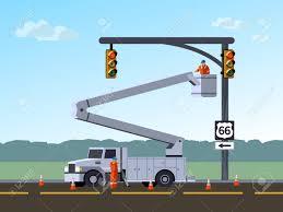 100 Bucket Truck Repair Service Electrician Worker Or Reinstall Traffic