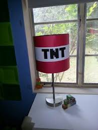 Minecraft TNT Lamp I Used Red Card Stock To Wrap Around A Cylinder Shade Then